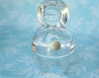 Vintage 1970s Signed Danish Art Glass Crystal Eskimo Holmegaard