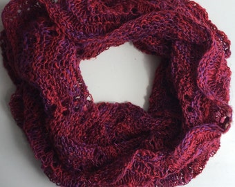 Knit Cowl // handknit and handspun natural fiber in reds & purples