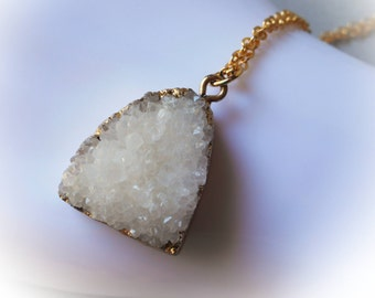 White Druzy Necklace, druzy quartz pendant, white crystal charm, gold plated gold edged stone pendant charm quartz raw stone drusy crystal