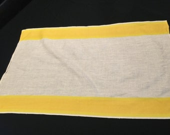 Vintage Sunny Yellow and White Linen Kitchen Towel