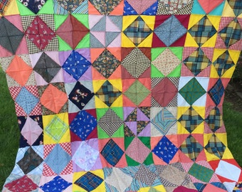 Vintage Hand Pieced Square in Square Pattren Quilt Top