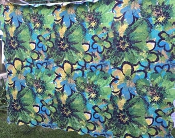 Vintage 1970's Era Abstract Floral Print Tablecloth