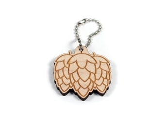 Hoppy Beer Hops Craft Beer Engraved Wooden Keychain