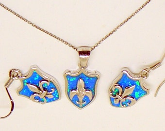 Vintage Opal Sterling Necklace And Earrings - Blue And Green Opal - Fleur de Lis Design - 925 Sterling Silver - European Silver - Italy