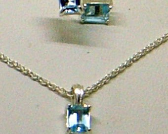 Vintage Blue Topaz Earrings And Necklace - Sterling Silver - Emerald Cut - Never Worn - Swiss Blue Topaz Set - December Birthstone SALE