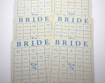 Vintage 1950s Extra Large Blue and Ivory Bride Bingo Cards Set of 6