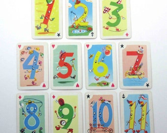 Miniature Vintage Anthropomorphic Crazy Eights Playing Cards for Children by Whitman Set of 11