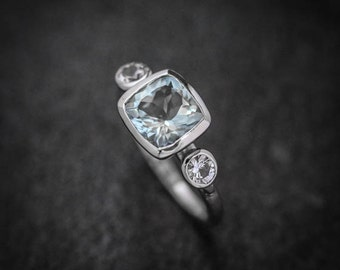 Cushion Cut Aquamarine White Sapphire and White Gold Ring, 14k Palladium White Gold Three Stone Ring March Birthstone Alternative Engagement