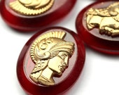 Vintage Plastic Cameo Warrior 20x15mm Gold and Red (4) VIC395