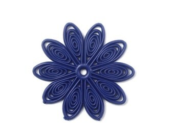 Flexible Plastic Filigree Flowers 35mm Matte Navy Blue (4) PB064