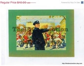 Super Sale Back to School 1950's Litho Print, Policeman Marching Band, Color Copy, HighSchool, Parade, Police, Students, Children,  Artwork