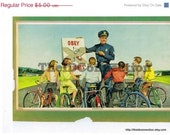 Super Sale Vintage 1950's Litho Print, Policeman, Color Copy,  School Children, Obey, Bicycles, Police, Traffic Safety, Students Artwork