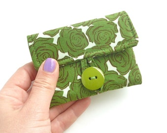 rosary pouch. catholic gift. green rose fabric first communion baptism confirmation. padded girl gift idea. cute ear bud pouch