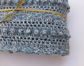 Lacy Blue Baby Blanket -  Hand Crocheted Baby Blanket