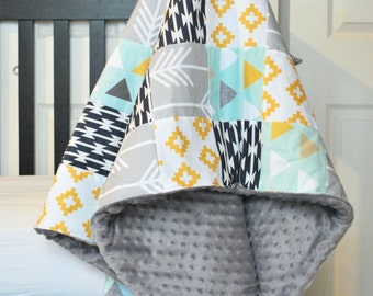 Aztec Gold Navy and Grey Patchwork Baby Blanket-2 sizes available