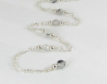 Tourmalated Quartz and Sterling Silver Chain Adjustable Anklet