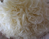 true vintage french vanilla cream ruffled petticoat, beautiful pale ivory color, very wide & full, romantic cowgirl prairie wedding chic FAB