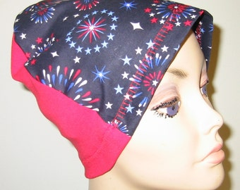 Fireworks Lightweight Hat, Cancer, Alopecia, Sleep Cap,  Chemo Hat