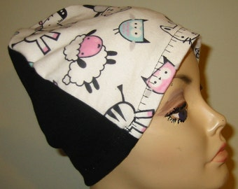 FREE SHIP USA Lions, Zebra, etc Flannel Sleep Cap, Chemo Hat, Cancer Cap, Alopecia