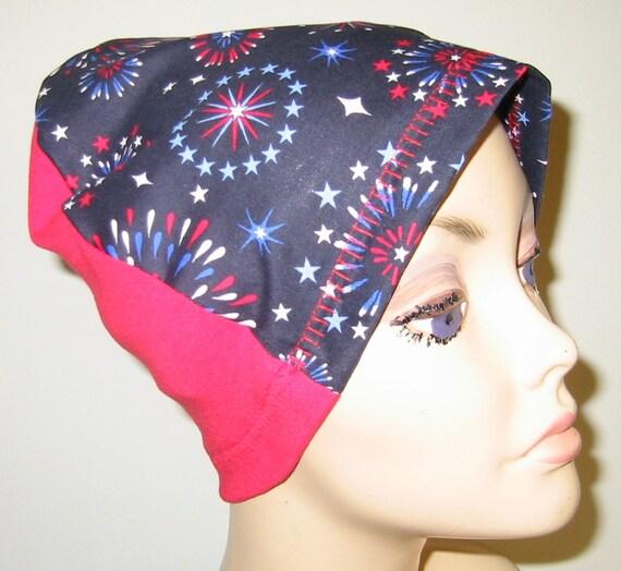 Fireworks Lightweight Hat, Cancer, Alopecia, Sleep Cap,  Chemo Hat