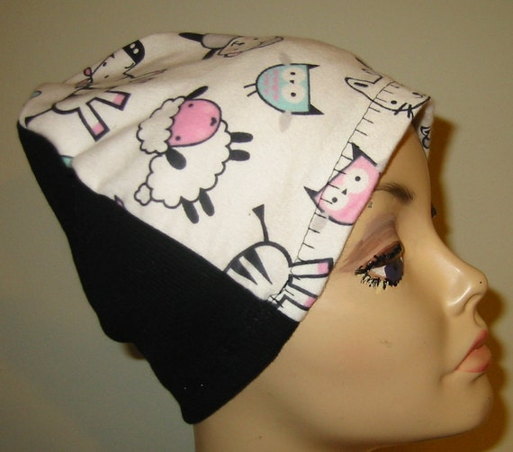 Kids, Childs Lions, Zebra, etc Flannel Sleep Cap, Chemo Hat, Cancer Cap, Alopecia