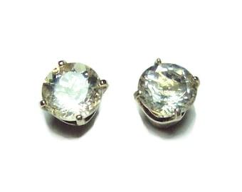 Yellow labradorite 6mm sterling stud earrings