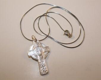 Fine Silver Celtic Cross Pendant