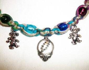 Triple Deady - Stealie Face and Dancing Bear - Rainbow Hemp Necklace - Hemp Jewelry