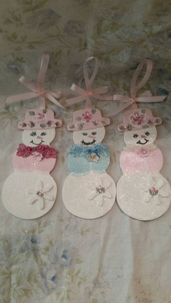 Cottage Shabby Frosty Set Of 3 Snowman Snowlady Chic Pink