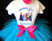 Frozen Elsa Anna Princess Pink Blue 2nd Second Girl Birthday Tutu Outfit Custom Personalized Name Age Party Shirt Set