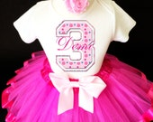 Pink Blue polka dotted Number Monogram Hot pink dots 3rd Third Girl Birthday Tutu Outfit Custom Personalized Name Age Party Shirt Set