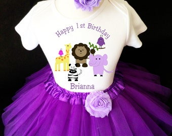 Zoo Animal Lion Giraffe Zebra Lavender Purple 1st First Girl Birthday Tutu Outfit Custom Personalized Name Age Party Shirt Set