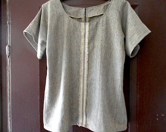 SALE Linen blouse tunic striped, kimono sleeve, raw edge selvedge - eco vintage fabric