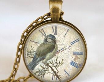 Antique clock and bird necklace,vintage clock pendant , steampunk clock necklace, steampunk jewelry, old clock necklace,clock jewelry