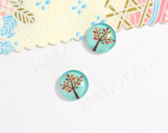 Sale - 10pcs handmade tree clear glass dome cabochons 12mm (12-0339)