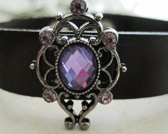 Lovely Lavender Gems with Leather Wrap Bracelet Cuff