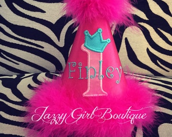 Personalized Crown Birthday Party Hat in Fuschia, Hot Pink  and Teal with Hot Pink Boa 1, 2, 3, 4, 5, 6, 7, 8 or 9