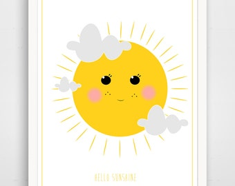 Children's Wall Art / Nursery Decor - Hello Sunshine in Yellow by Finny and Zook