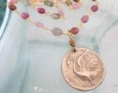 Custom listing for Alanna, Silver Swan Pendant