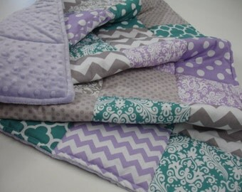 Mixed Geometrics in Teal Lavender and  Gray Patchwork Blanket You Choose Size MADE TO ORDER No Batting
