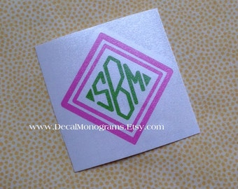 Double Diamond Monogram Vinyl Decal