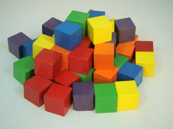 Wood Blocks Small Wooden Blocks Bright Colored Blocks Toy Or