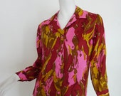 Reserved Payment 1 | 60s Silk Blouse | Vintage HOT LAVA Pink Psychedelic Print Shirt Top NWT 1960s Retro Chic Women's Fashion Abstract