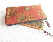 Upholstery pouch, cranberry linen zipper pouch, bronze floral purse, cosmetic bag, pencil case, makeup pouch