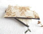 Pale green upholstery pouch, brown linen pouch, cosmetic case, pencil case, bag organizer,floral purse, fabric clutch, zipper purse