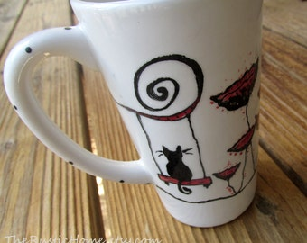 Poppy kitty tall pottery mug coffee tea red black and white latte black cat mug poppies mug flowers floral mug