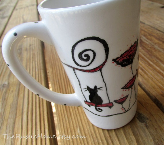 Poppy kitty tall pottery mug coffee tea red black and white latte black cat lover poppies mug flowers