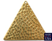 1 Hole Raw Brass Hammered Triangle Pendants 38mm (4) mtl297C