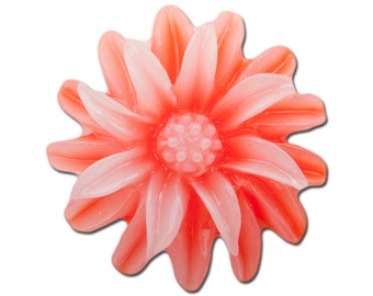 Red White Double Layered Acrylic Flower Cabochon 19mm (4) cab850A