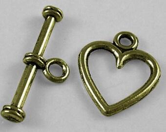 Rounded Heart Antiqued Bronze Toggles (20 Sets) tog005C